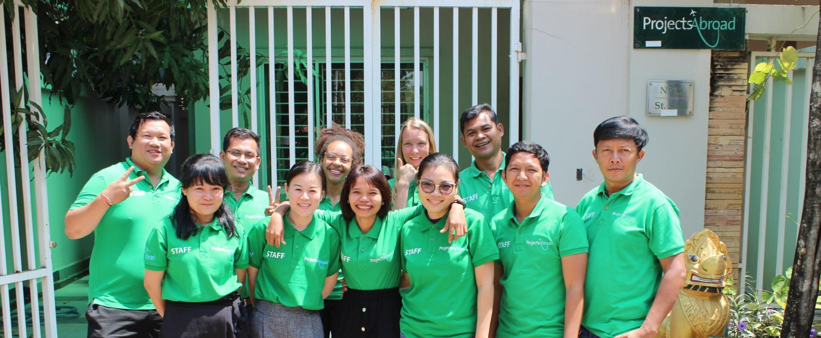 A group of Projects Abroad staff and volunteers in Cambodia, Southeast Asia.